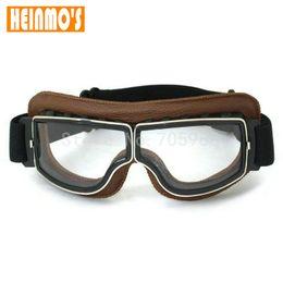 Motocicleta Harley Estilo Do Vintage Da Motocicleta Óculos de Proteção  Piloto de Moto Óculos De Proteção De Couro Retro Jet Capacete Eyewear Para  Harley ... 957da0eae6