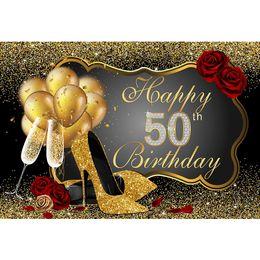 foto saltos Desconto Feliz 50th Birthday Party Backdrop Impresso Balões de Ouro de Salto Alto Champagne Confetti Rosas Vermelhas Foto Custom Booth Background