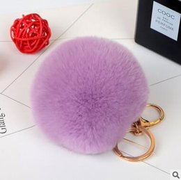 Wholesale Solar Voice - lovely rex rabbit fur ball keychain black white cute soft fur ball pendant for bag car