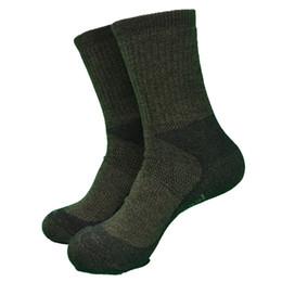 coppie di lana di lana Sconti Army Green Color Whole Terry Thick 60% Merino Wool Heavy Outdoor Hike Socks Calze da uomo da donna (1 paio)