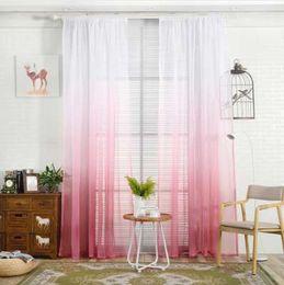 Тканевые панели онлайн-200x100cm градиент Sheer занавес тюль обработки окна вуаль драпировка подзорная 1 панель ткани печатных шторы для спальни
