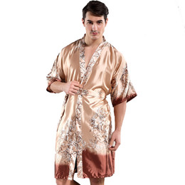 097fc4474e3 Men s Kimono Gown Printed Floral Home Wear Loose Bathrobe Rayon Robe Summer  New Nightwear Chinese Sexy Sleepwear
