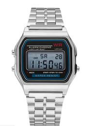 2019 montre en cours d'exécution mp3 2018 montres intelligentes A159W montres Mens Classic en acier inoxydable Digital Retro Watch Vintage Gold et Silver Digital Alarm Watches de sport