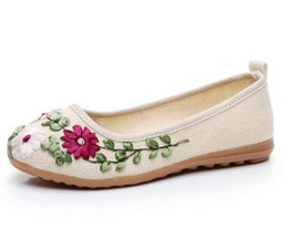 Wholesale Handicraft Cloth - Flower cloth shoes women embroider national wind handicraft single shoe female shallow mouth round head flat shoe cow bottom