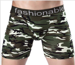 Wholesale Long Boxers - 2018 Men's sports long camouflage printing cotton padded pants running anti-wear legs five pants Changping four corners trousers