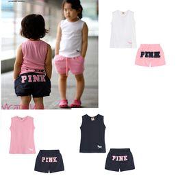 Wholesale Boys Sleeveless Tank - Kids Summer Pink Letter Clothes Suit Sleeveless T-shirt Tank Top+Shorts 2pcs set Children Outdoor Sports Suits Boys Girls Fashion Outwear