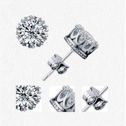Männer ohrstecker online-Band neue gold krone männer ohrstecker 925 sterling silber cz simuliert diamanten engagement schöne frauen hochzeit kristall ohrringe