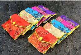 Wholesale wholesale brocade bags - Floral Small Zipper Coin Pouch Chinese Silk Brocade Jewelry Pouch Packaging Bags Women Mini Purse Bag Wholesale 6x8 8x10cm 120pcs lot