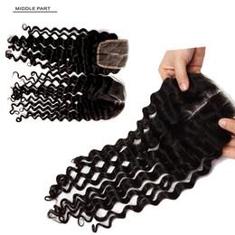 2019 lunghezza dei capelli dell'onda dell'acqua Brasiliano Malese Onda Acqua Capelli vergini Chiusura in pizzo Capelli umani Chiusura in pizzo Lunghezza capelli 8