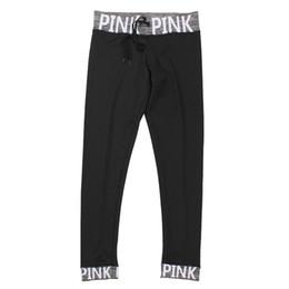 Женщины Розовое письмо Высокие талии Фитнес-поножи Мода 2018 Женщины Push Up Черный Spandex Брюки Тренировочные поножи Femme Plus Размер