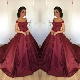 sky blue dresses for quinceanera Coupons - Burgundy Ball Gown Quinceanera Dresses New Off Shoulder Satin Lace Applique Long Arabic Sweet 65 For Girls Formal Prom Party Gown