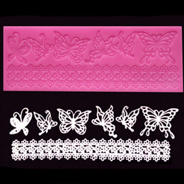Wholesale Wedding Fondant Molds - Wholesale- Butterfly Shape Silicone Fondant Mold Lace Wedding Birthday Christmas Cake Decorating Mold Lace Cake Molds Baking Tools ZH01552