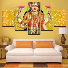 Moderne Affiche Home Decor No Frame Toile Salon Mur Art 5 Pièce Inde Déesse De Richesse Lakshmi Peinture HD Imprimé Photos ? partir de fabricateur