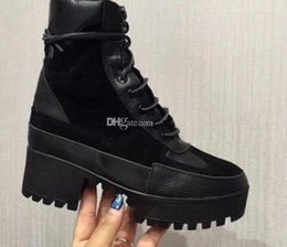Wholesale Womens Black Combat Boots - 2018 Hot Lace up Womens Martin Booties Genuine Suede leather Platform Combat Desert Boots Feminino