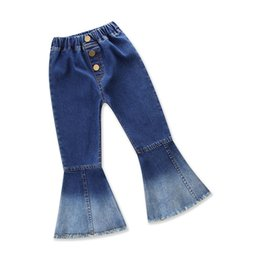 Wholesale Wholesale Boot Cut Jeans - Vieeoease Girls Denim Pleuche Bell-bottoms INS Baby Flare Pants 2018 Spring Fashion Boot Cut Kids Trousers EE-148