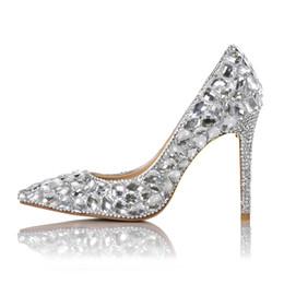 zapatos de boda de tacón bajo de plata de diamantes de imitación Rebajas Nuevo 2018 mujeres tacones altos zapatos de diamantes de imitación bombas dama sexy punta estrecha zapatos de boda 10 cm zapatos de tacón alto mujer fiesta zapatos