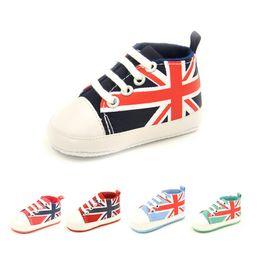 Wholesale union jack black - The Union Jack Newborn Shoes Anti-Slip Baby Boy Canvas Shoe Infant First Walker Girls Sneakers Children Plimsolls Boots Flag Sport Sneaker