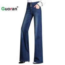 Wholesale Jeans Loose Legs For Women - {Guoran} High waist loose denim jeans pants for women 2017 new washed blue wide leg jeans trousers plus size 33 32 fashion pant