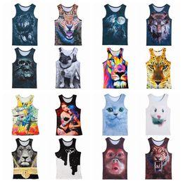 Wholesale Tiger Sleeveless Shirt - Fashion 3d Animal Print Vest Men women Gorilla Monkey Tiger Cat Dog Wolf Hamster Leopard Funny Tank Tops Sleeveless T-shirts