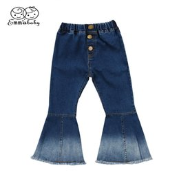 wholesale stylish jeans Promo Codes - New Cute fashion kid flare jeans Toddler Kids Baby Girl Bell-Bottoms Pants Denim Wide Leg Jeans Trousers stylish kid pant