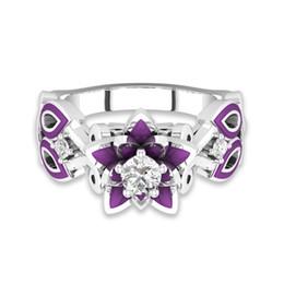 Presentes roxos únicos on-line-Elegante Rodada Corte De Pedra Flor De Lótus Anel De Noivado Para As Mulheres Único Roxo Esmalte Dedo Anéis Presentes Da Marca de Moda Jóias