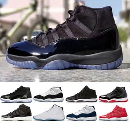 Wholesale Red Canvas Lace Up Shoes - 11 11s Prom Night Basketball Shoes Men Women cap and Gown Gym Red space jam concord PRM Heiress bred gamma blue Sports Sneaker