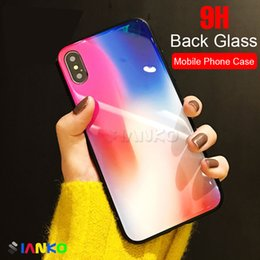 Wholesale iphone pattern glass - HOT!! Luxury Colorful Tempered Glass Case For iPhone X Colorful Texture Pattern Cover With Soft TPU Edge For Apple iPhone X Shockproof Case