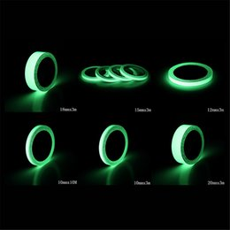 Wholesale Luminous Stickers - 6 Size Luminous Tape Self-adhesive Photoluminescent Night Vision Glow In Dark Wall Sticker Safety Warning Security Stage Decoration 0706040