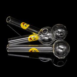 logos de fumar Desconto SORRISO logotipo queimador de óleo de vidro tubulações de água queimadores de óleo tubo de tubo de vidro grosso claro fumar cachimbos para tubos de mão barato tubo