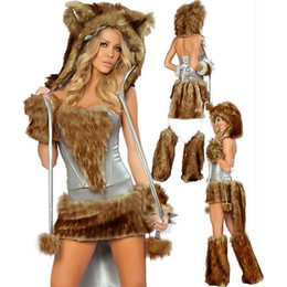costumes fur women Promo Codes - 2 Colors Sexy Faux Fur Carnival Carton Cosplay Winter Cat Woman Costume Halloween Night Club Theme Costume Christmas Wolf Uniform