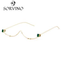 Wholesale eyeglass frames crystal - SORVINO 2018 Unique No Lens Half Frame Eyeglasses Frame Women Wire Cat Eye Brand Designer Crystal Rhinestone Decoration OM546