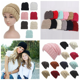 Parents Kids Knitted Hats Baby Moms Winter Knitted Hats Warm Trendy Beanies Crochet Caps Outdoor Slouchy Beanies CCA