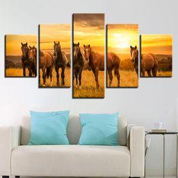 5 Stücke Pferde Tier Ölgemälde Auf Leinwand Ungerahmt Sonnenuntergang Landschaft Öl Bild Für Schlafzimmer Home Office Decor Pop Geschenk von Fabrikanten