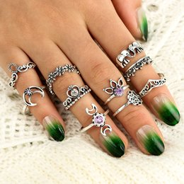 Wholesale carved diamond ring - 10Pcs Set Women Bohemian Hollow Carved Elephant Palm Moon Diamond Rings Set For Women Fashion Accessorices D461Q