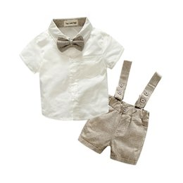 Wholesale child overalls - New 2018 Summer Fashion Baby Boy Clothes Gentleman T-shirt Overalls Cotton Children Sets Kids Clothing Newborn Clothing Sets 2pcs
