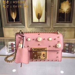 aed77e1ba524 New style Genine Leather Handbags Shoulder party Bags Day Clutch Chain Bag  Small pink with pearl Bag Fashion Women s Clutches free shipping