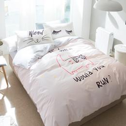 Wholesale Pink Black Crib Bedding - Cat With Glasses Bedding Set 4Pcs Queen Twin Size Light Pink Duvet Cover Eyelash Pillowcase 100% Cotton Bedding Sets