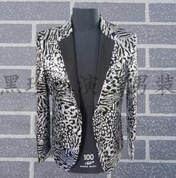 Discount men s leopard jacket - Silver Men Leopard Print Suits Designs Stage Costumes For Singers Men Sequin Blazer Dance Clothes Jacket Star Style Dress Punk