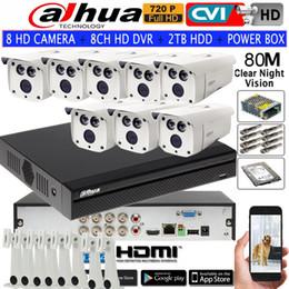 Wholesale Cctv Dahua - DAHUA 720P IR80M Security CVI camera IP67 HAC-HFW1020D bullet CCTV camera 8CH DH-XVR4108HS HDCVI camera kit HDD with power box