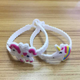 Wholesale Silicone Wristbands For Parties - Cartoon Unicorn Bracelet Flexible PVC Wrist Strap Multi Styles For Party Gifts Children Lovely Novelty Wristband Creative 0 5ks Y