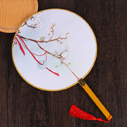 Wholesale traditional chinese woman costume - Vintage Small Round Chinese Silk Fans for Dancing Costume Decorative Fan Traditional Craft Handle Hand Held Fan for Women Gift Fan