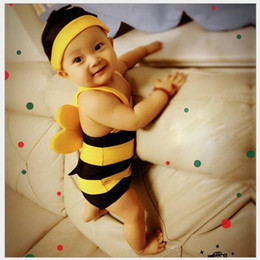 Swimwear di un pezzo delle bambine online-Super Cute Babies Costume da bagno ragazzi ragazze Lovely Little Bees Costume da bagno Kids One Piece Costume da bagno per bambini Costumi da bagno per bambini