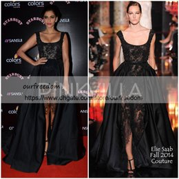 Wholesale Lace Over Satin Dress - 2018 Elie Saab Sonam Kapoor Occasion Prom Gowns Hot Sexy Black Lace Pearls Crystal over skirts Split Evening Dresses Dubai Saudi Arabic