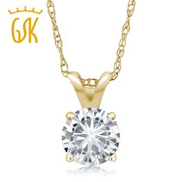 99f2e2739 Charles & Colvard 4.5mm VG Moissanite 0.30 CT 14k Yellow Gold Solitaire  Pendant Round 4 Prong With 18