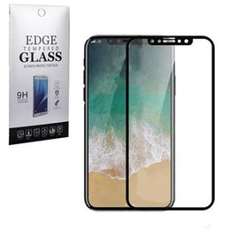 Wholesale Iphone Titanium Cover - For Iphone X Titanium Rim Tempered Glass Screen Protector Full Cover Screen Film 0.26mm 9H Explosionproof For Iphone 8 with Retail Package