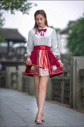 Wholesale Red Hanfu - Ancient style women's dress student hanfu girl improved autumn wear the traditional Chinese style of Chinese style women han elements skirt