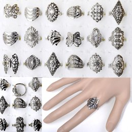 Anéis de estilo tibetano on-line-10pcs por atacado de jóias a granel lotes estilo misto Tibet Silver Vintage anéis grátis