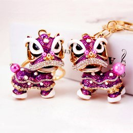 Wholesale Little Girls Gifts - Creative gifts Chinese style unicorn lion car metal key chain cute little lion girl bag pendant