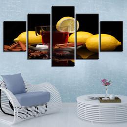 2019 pinturas de limón HD Prints On Canvas Pictures Arte de la pared 5 piezas de limón Especias pinturas de vino Frutas de cocina Poster Cuadros Home Decor Modular Frame rebajas pinturas de limón
