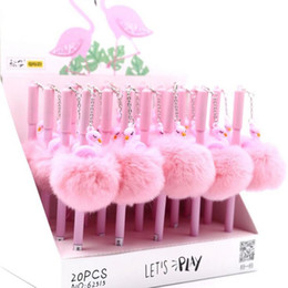 Wholesale Pen Pendant - 24 Pcs lot 0.5 Mm Flamingo Warm Ball Plush Pendant Gel Ink Pen For Writing And Promotional Gift Stationery School & Office Supply